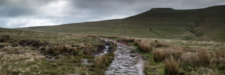 brecon beacons: Panorama landscape of footpath leading towards Corn Du mountain in Brecon beacons