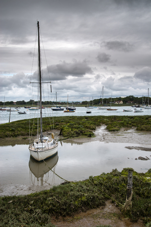 Landscape of moody evening sky over low tide marine fu of yachts