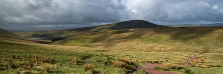 brecon beacons: Landscape panorama view from climb up Corn Du mountain in Brecon Beacons