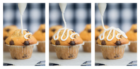 triptych: Triptych of home made chocolate chip muffins with icing frosting being applied Stock Photo