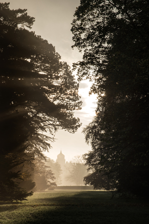 Old house viewed through misty sunlight in forest landscape photo