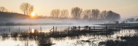 Beautiful tranquil panorama landscape of lake in mist photo