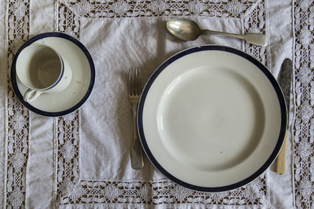 18th: 18th Century tableware place setting