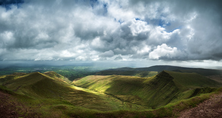 brecon beacons: Panorama landscape view from Pen-y-fan in Brecon Beacons Stock Photo