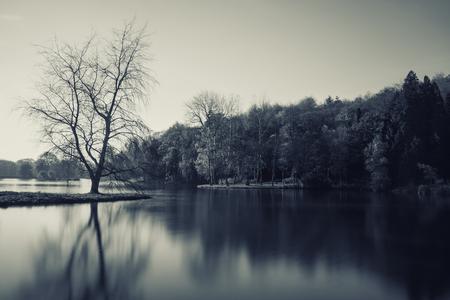 Monochrome landscape of lake in Winter photo