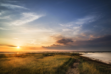 湿地とハーバー君夏の日没の風景 写真素材