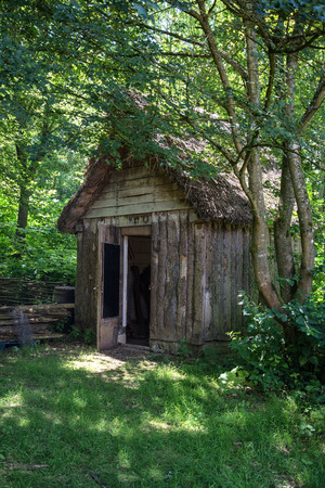 18th: 18th Century medieval woodcutters shed in forest