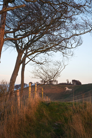 18th: Beauitful landscape of ancient chalk white horse in hill at Cherhill in Wiltshire England during Autumn evening Stock Photo