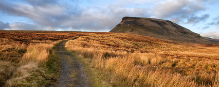 yorkshire dales: Panorama landscape Pen-y-Ghent in Yorkshire Dales England