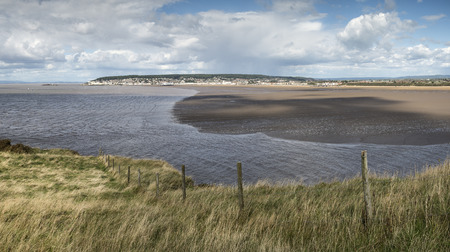 brean down: Weston-Super-Mare Summer landscape panorama viewed from Brean Down Stock Photo