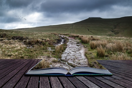 brecon beacons: Beautiful landscape of Brecon Beacons National Park with dramatic sky conceptual book image
