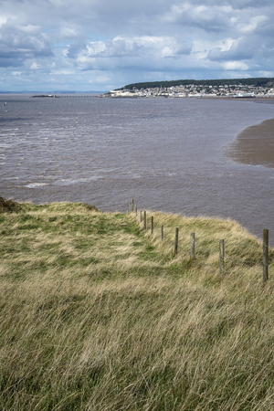 brean: Landscape image of Weston-Super-Mare seen from sea cliffs