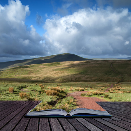 beacons: Beautiful landscape of Brecon Beacons National Park with dramatic sky conceptual book image
