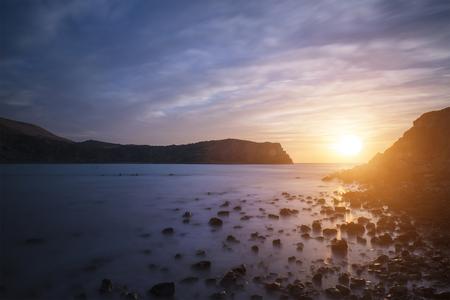jurassic coast: Stunning sunrise landscape over Lulworth Cove Jurassic Coast England