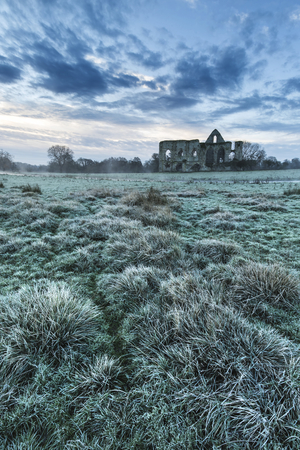 priory: Beautiful dawn landscape of Priory ruins in countryside location