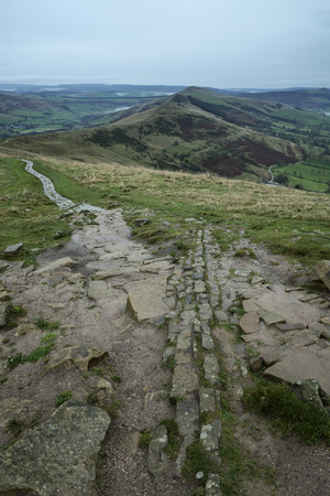 mam: Mam Tor landscape on Autumn Fall morning in Peak District