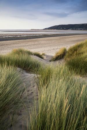 sand dunes: Evening Summer landscape over grassy sand dunes on beach