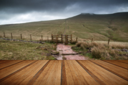 brecon beacons: Landscape image of Corn Du peak in Brecon Beacons mountain range with wooden planks floor Stock Photo