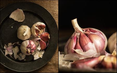 compilation: Compilation of images of fresh garlic cloves on vintage metal plate