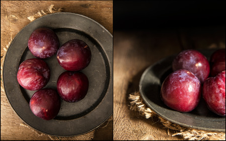 compilation: Compilation of images fresh plums in moody natural lighting set up with vintage style