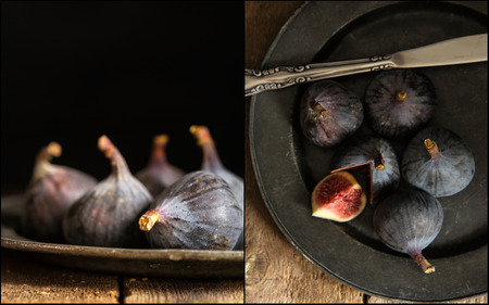 natural  moody: Compilation of images of Fresh figs in moody vintage style moody natural lighting set up