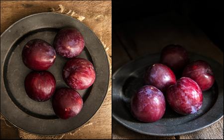 natural  moody: Compilation of images fresh plums in moody natural lighting set up with vintage style