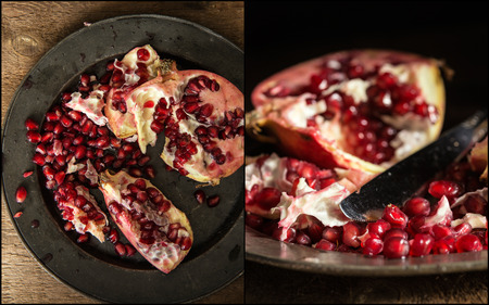 compilation: Compilation of pomegranate images in moody natural light set up with vintage style Stock Photo