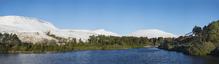 brecon beacons: Panorama Winter landscape of lake with forest and mountain ranges