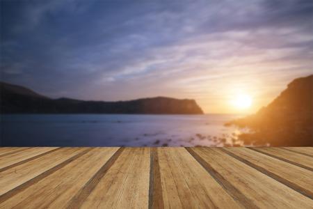 jurassic coast: Stunning sunrise landscape over Lulworth Cove Jurassic Coast England with wooden planks floor