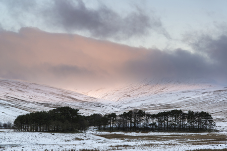 winter sunrise: Stunning pink sunrise over mountain Winter landscape