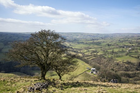 an agricultural district: Beautiful landscape image of Peak District on bright sunny Spring day