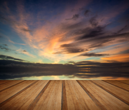 skyscapes: Stunning vibrant blue and pink Winter sky  with wooden planks floor