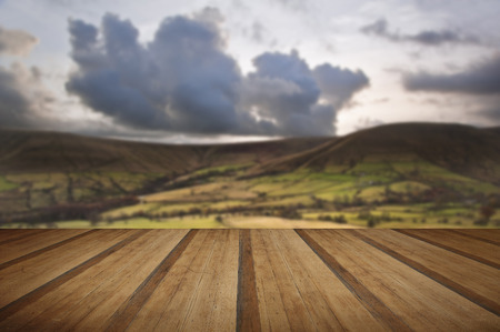 knoll: Kinder Low and Brown Knoll in Peak District National Park with wooden planks floor