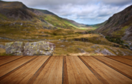 nant: View along Nant Francon mountain valley in Snowdonia National Park in Wales with wooden planks floor