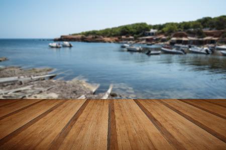 mediteranean: Landscape image of old Mediteranean fishing village with wooden planks floor