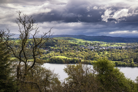 lake district: View from Claife Heights over landscape of Lake Windermere in Lake District Stock Photo