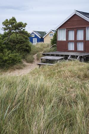 beach huts: Beach huts on sand dunes and beach landscape