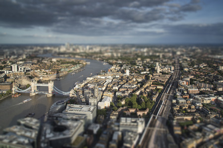 tilt: Aerial view of London with with tilt shift effect filter