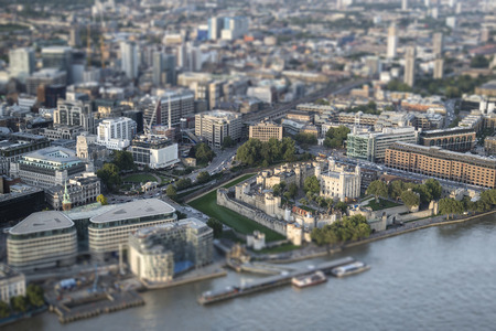 tilt and shift: Aerial view of London with with tilt shift effect filter
