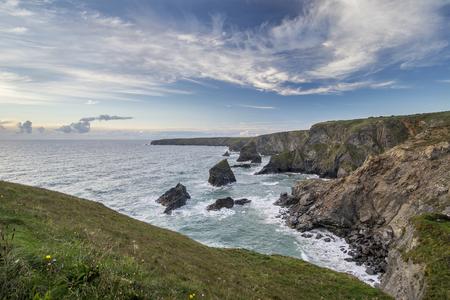 cornwall: Sea landscape of Bedruthan Steps on Cornwall coastline in England