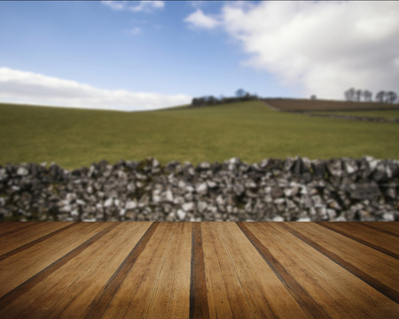 wood agricultural: Beautiful landscape of Peak District in UK with famous stone walls concept image