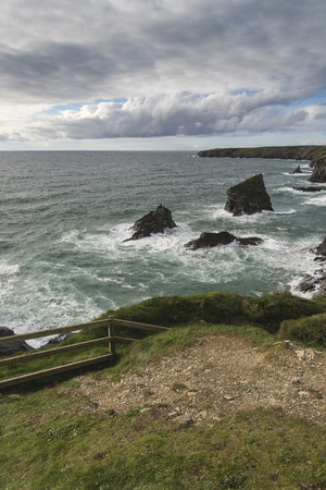Beautiful landcape image of Bedruthan Steps on Cornwall coast in England