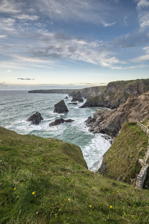 colrful: Beautiful landcape image of Bedruthan Steps on Cornwall coast in England