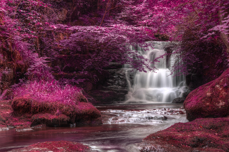alternate: Stunning waterfall in alternate surreal colored landscape