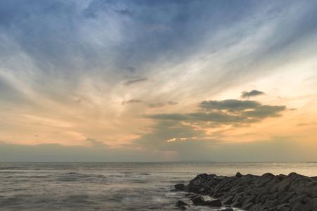 kimmeridge: Stunning sunset landscape image of rocky coastline in Dorset England
