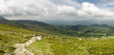 of pano: Beautiful large panorama landscape of Snowdonia National Park from Cadair Idris