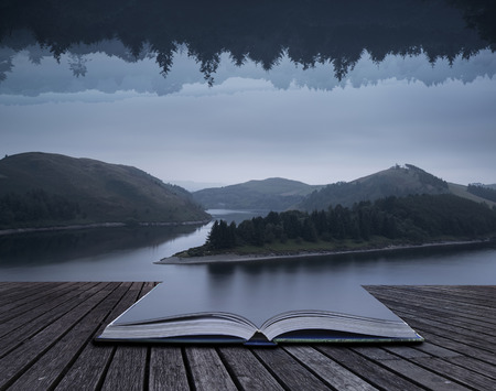 illogical: Stunning impossible enigmatic conceptual landscape image of lake and forest opposite each other vertically