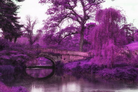 infra red: Stunning infra red landscape image of old bridge over river in countryside Stock Photo