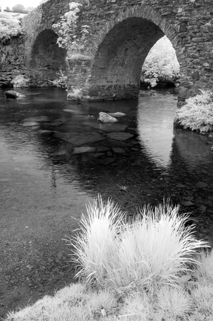 specialised: Stunning black and white infra red landscape image of old bridge over stream