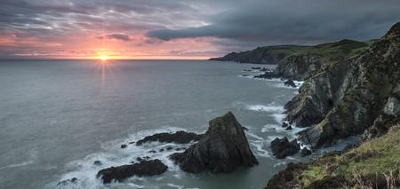 devon: Sunrise over Bull Point landscape in Devon England